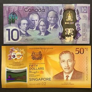 SET 2017 CANADA SINGAPORE 10 50 DOLLARS POLYMER P-112 62 UNC> > >40TH 150TH COMM