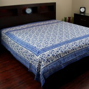Cotton Block Print Floral Tapestry Wall Hang Tablecloth Square Bedspread Queen