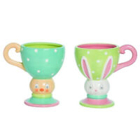 Set/2 Johanna Parker Transpac Easter Dottie Bunny Chick Fancy Mugs Cups Decor