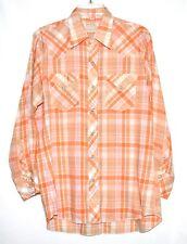 Vintage BRONCO Western Orange Plaid with Pearl Snap Buttons Mens Shirt Sz 16-33