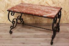 Tavolo / tavolino rettangolare in ferro battuto e marmo rosa coffee table marble