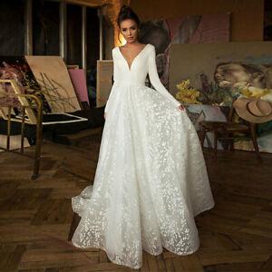 2021 Langarm Brautkleid Hochzeitskleid Kleid Braut rückenfrei mit Schleppe BC979