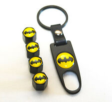 Black CAR Wheel Tyre Tire Valves Dust Stems Air Caps Keychain With Batman Emblem