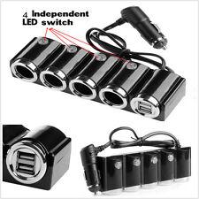 4 Way Multi Socket Car Cigarette Lighter Splitter 2-USB Plug Charger DC 12V/24V