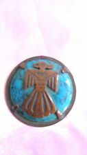 Vintage medallion turquoise and copper with makers mark on the back