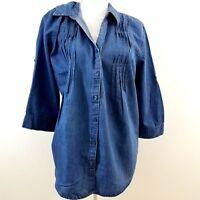 Gloria Vanderbilt Womens Giselle Top Size Large Blue Pintuck Roll Tab Sleeve