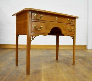 Antique oak Lowboy console side hall table with drawer / small  ladies desk