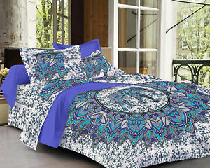 Indian Elephant Mandala Bed Cover 100% Cotton Bedding Bed Sheet & 2 Pillow Cases