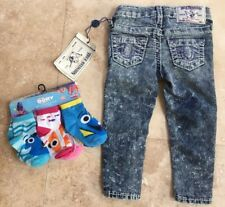 NWT TRUE RELIGION Toddler Girls 2T FED Blue Acid Wash SKNY Jeans + Dory Sox $129