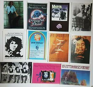 LOT DE 20 CARTES POSTALES (70s) ♦ Led Zeppelin, The Doors, Bowie, Marley, KISS ♦