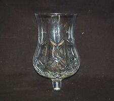 Old Vintage Homco Clear Glass Peg Votive Cup Candle Holder Diamond Criss Cross