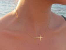 Sideways Cross Necklace, Gold or Silver Stainless Steel