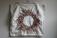 """Pottery Barn 24"""" Square Wreath Berry Christmas Winter Pillow Cover Sham"""