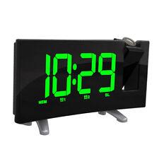 FM Radio Alarm Clock LED Digital Electronic Table Projector Clock  Green LED
