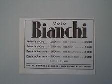 advertising Pubblicità 1936 MOTO BIANCHI FRECCIA D'ORO/AZZURRA