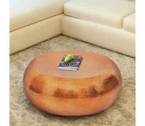 Copper Side Coffee Table Oval Furniture Vintage Industrial Modern Living Room