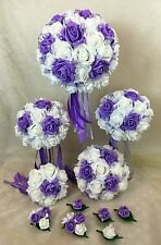 Artificial  Flower Purple/White Foam Rose Bridal Wedding Bouquet Set