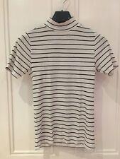 Primark White with Black Stripes, Polo Neck T-shirt, UK Size 10