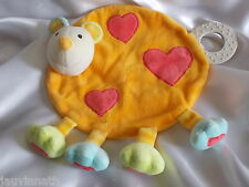 Doudou souris orange, coeur, grelot, Babysun, Blankie/Lovey/Newborn toy