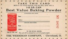 F43/ Cleveland Ohio Advertising Trade Card c1920s Best Value Weideman Co