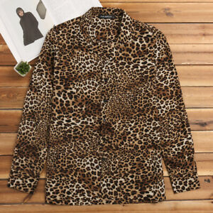 US STOCK Mens Leopard Printed Shirts Casual Fitness Muscle Party Blouse Tee Tops