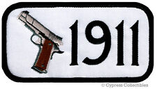 1911 PISTOL PATCH iron-on embroidered GUN 2nd AMENDMENT SEMI-AUTOMATIC - WHITE