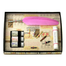 Calligraphy Set, Pink Feather Quill Pen 3 Inks & 6 Nib Set, Great Gift (531PK)