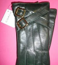 COACH WOMEN BUCKLES LEATHER GLOVES WRIST CASHMERE LINED WINTER SIZE 6.5 GREEN