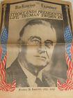 San Francisco Examiner Newspaper (April 13th 1945) Death on F.D.R...Original