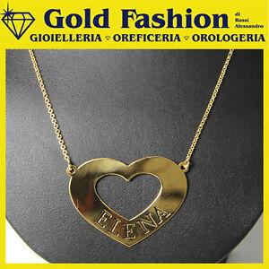 Collana in argento tit. 925 - cuore - tuo nome - personalizzato - placcata oro