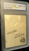 BABE RUTH/LOU GEHRIG 70TH ANNIVERSARY AUTOGRAPHED GEM-MT 10 23KT GOLD CARD!