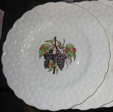 "1939 Four Purple Grapes on Spode Copeland 9.25"" Plates, Emb. Daisy Rims"
