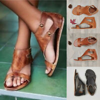 Womens Gladiator Sandals Summer Beach Flat Heel Peep Toe Casual Shoes Flip Flops