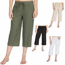 Metzuyan Womens Cropped Linen Capri Pants 3/4 Summer Shorts Pocket Sizes 6-10