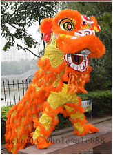 Lion Dance Mascot Costume Wool Southern Lion China Folk Art For Two Adult Orange