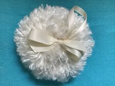 Shaggy Body powder puff, super soft, 4 inches with ivory loop ribbon and bow