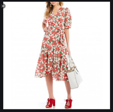 ANTONIO MELANI LIBERTY FABRICS CARLINE ROSES RED WHITE WRAP DRESS NWT 8