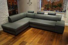 Grau Rindsleder Ecksofa 100% Echt Leder Sofa Eck Couch mit Bettfunktion Volleder