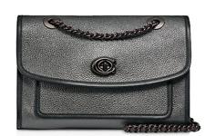 🌺🌹Coach Parker Metallic Leather Convertible Shoulder Bag Gray/Gunmetal