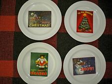 4 THE MARKETPLACE CHRISTMAS DINNER PLATES SET 11 INCHES EACH