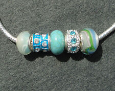 5 AquaBlue Sparkle Mix Glass Enamel Rhinestone Beads for European Charm Bracelet