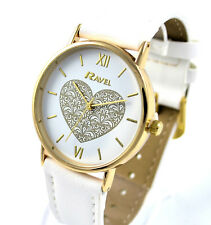 Ravel Ladies Girls BIG Face Heart Dial Quartz Watch White & Gold Tone NEW DESIGN