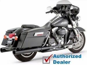Vance & Hines Black Power True Dual Header Exhaust Pipe System Harley Touring