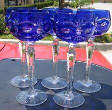 VTG Set of 5 Cobalt Blue Wine Glasses! Bohemian Goblets Crystal Etched Pineapple
