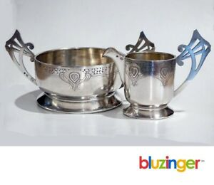Antique Russian 84 Silver Art Nouveau Creamer & Sugar Bowl