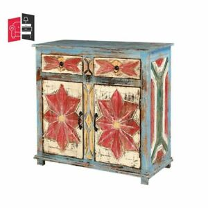 Hand Painted Blue Mango Wood 2 Door 2 Drawer Buffet Cabinet (MADE TO ORDER)