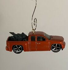 Custom Chevy Silverado With Motorcycle Christmas Hanging Ornament Free Shipping