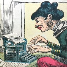 1890s GROTESQUE CARICATURE antique color print TYPEWRITER ugly secretary SEXIST