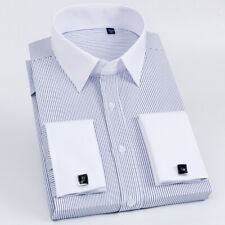 Mens Long Sleeves Shirts French Cuff Slim Fit Striped Dress Bussiness Work W6398