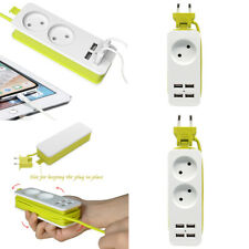 Power Strip Surge 5ft Extension Cord With 4 USB Port For Travel Portable EU Plug